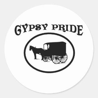 Gypsy Pride Black & White Caravan Classic Round Sticker