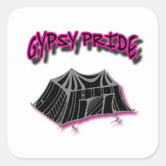 Gypsy Pride Camp Pink Square Sticker