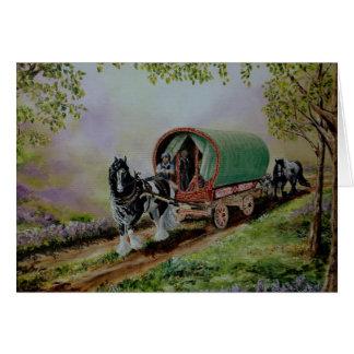 Gypsy Road Vanner horse Irish caravan Scotland Greeting Cards