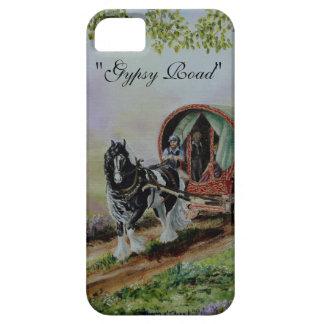 """Gypsy Road"" Vanner stallion horse caravan heather iPhone SE/5/5s Case"