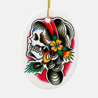 Gypsy Skull with Peacock Feather Ceramic Ornament