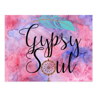Gypsy Soul - Boho Flower Child Dreamcatcher Postcard
