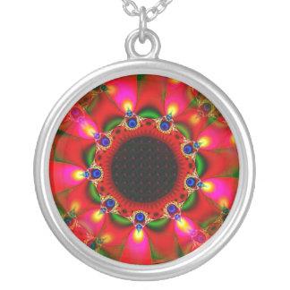 Gypsy Sunflower Round Pendant Necklace
