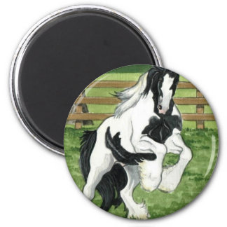 Gypsy Vanner at play Horse Art 2 Inch Round Magnet