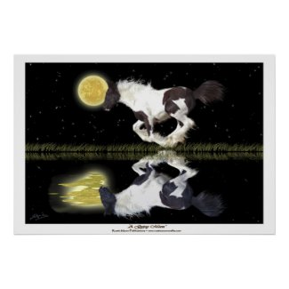 Gypsy Vanner Cantering Horse Fantasy Art Poster zazzle_print