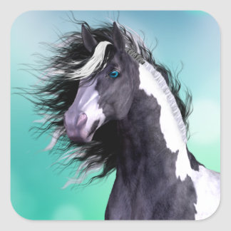 Gypsy Vanner Horse Large Square Stickers