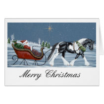 Gypsy Vanner Horse Merry Christmas Card