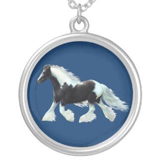 gypsy Vanner, Irish cob horse Round Pendant Necklace