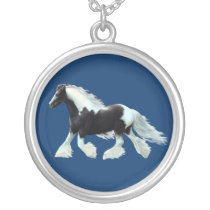 gypsy Vanner, Irish cob horse Silver Plated Necklace