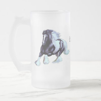 Gypsy Vanner, Irish horse Frosted Glass Beer Mug