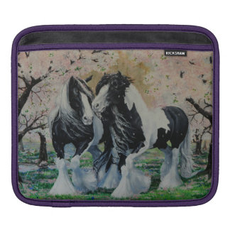 Gypsy Vanner stallion/mare horse cherry blossoms Sleeves For iPads