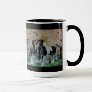Gypsy Vanner stallion mare in cherry tree grove Mug