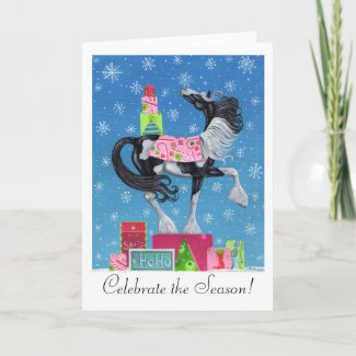 Gypsy Vanner Whimsical Christmas Card card