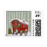 Gypsy Wagon Christmas Postage Stamp