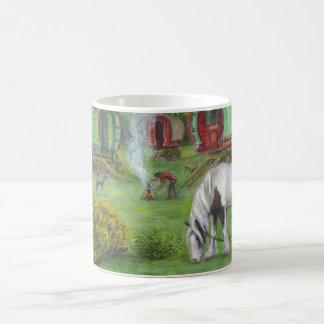 Gypsy wagons and horses classic white coffee mug