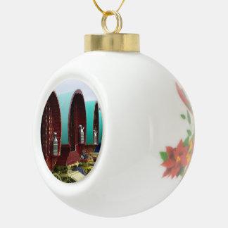Gypsy wagons ceramic ball christmas ornament
