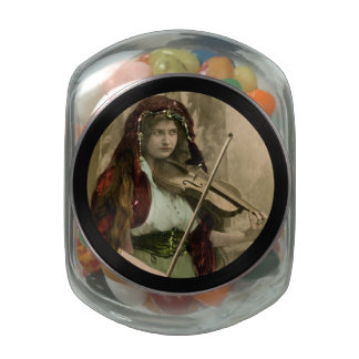 Gypsy Woman and Violin Jelly Belly Candy Jar