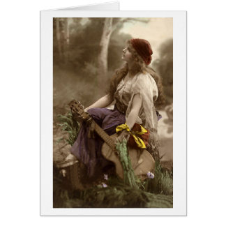 Gypsy Woman with Guitar Greeting Cards