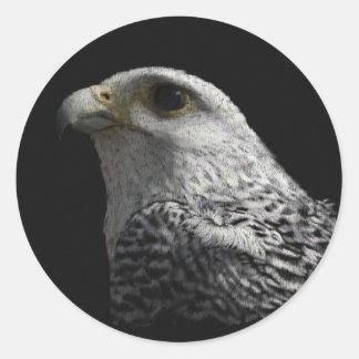 Gyrfalcon ártico etiqueta redonda