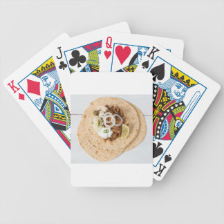 Gyros pita with tzatziki coleslaw olives and feta bicycle playing cards