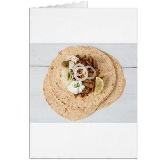 Gyros pita with tzatziki coleslaw olives and feta card