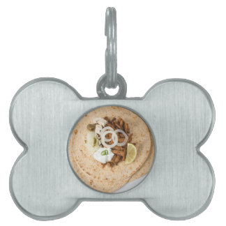 Gyros pita with tzatziki coleslaw olives and feta pet name tag