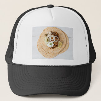 Gyros pita with tzatziki coleslaw olives and feta trucker hat
