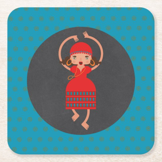 Gyspy Dancing girl Birthday Party Square Paper Coaster