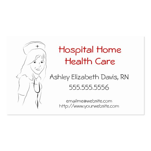 H001 BIZ - Pretty Nurse Sketch Double-Sided Standard Business Cards (Pack Of 100)