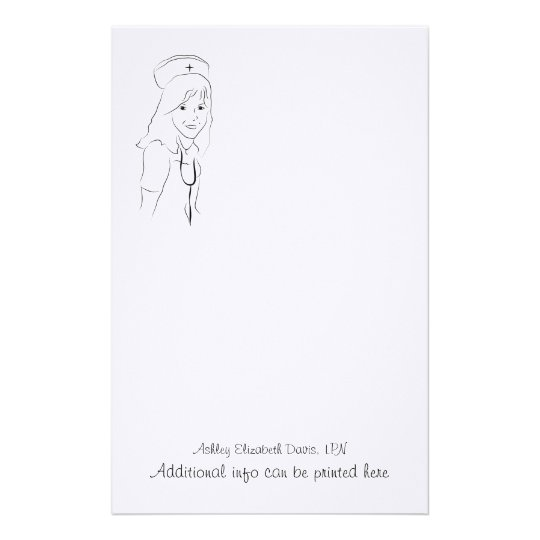 H001 Stationery - Pretty Nurse Sketch
