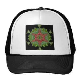 H1 Christmas Holly Berry Kaleidoscopic Mandala 1 Trucker Hat