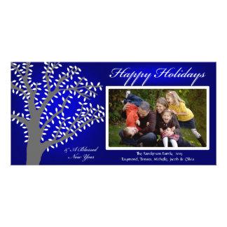 H1 Tree Lights-Blue Bkrgd Christmas Photo Card