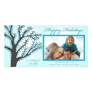 H1 Tree Lights-Blue Blue Christmas Photo Card