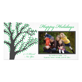 H1 Tree Lights-Green Christmas Photo Card
