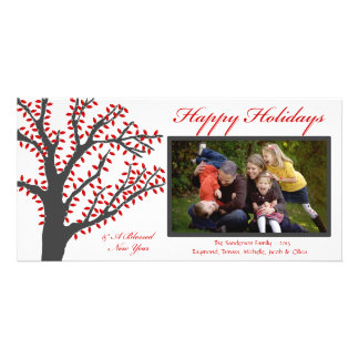 H1 Tree Lights-Red Christmas Photo Card
