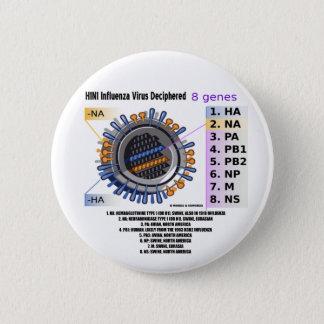 H1N1 Influenza Virus Deciphered (Health) Pinback Button