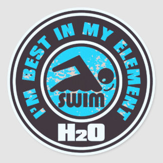 H2O_SWIMMER CLASSIC ROUND STICKER