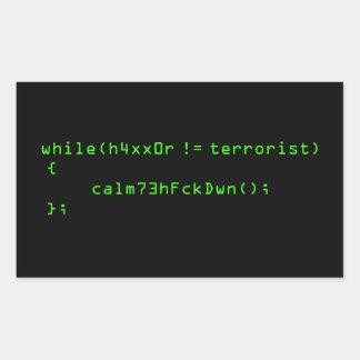 ¡h4xx0r! = terrorista pegatina rectangular