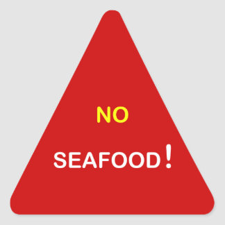h6 - ~ alerta de la comida NINGUNOS MARISCOS Pegatina Triangular