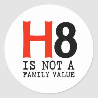 H8 is not a family value classic round sticker