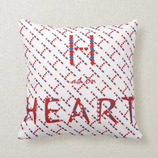 H as in Heart Throw Pillow