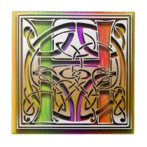 H Celtic Rainbow Custom Monogram Tile