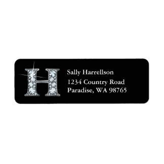 """""""H"""" Diamond Bling Monogram Return Address Label"""