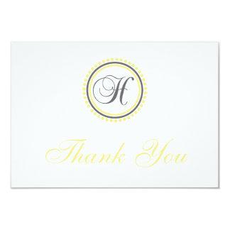 H Dot Circle Monogam Thank You Cards (Yellow/Gray)