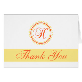H Dot Circle Monogam Thank You (Orange / Yellow) Card