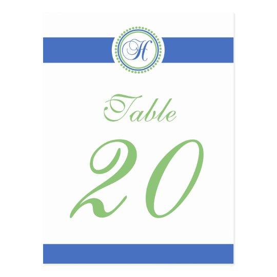 H Dot Circle Monogram Table Number (Mint / Blue) Postcard