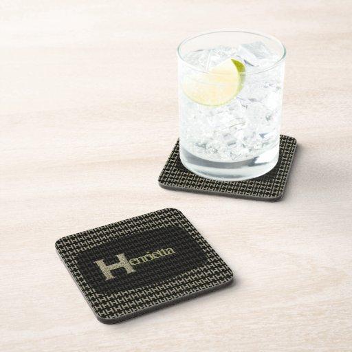H - El alfabeto de Falck (de oro) Posavasos De Bebida