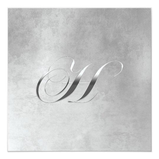 H Elegant Monogram Custom Wedding Announcement