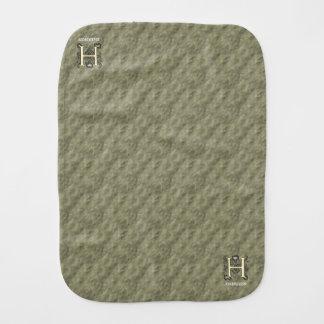 H - Embossed Vintage Monogram (Gold) Baby Burp Cloth