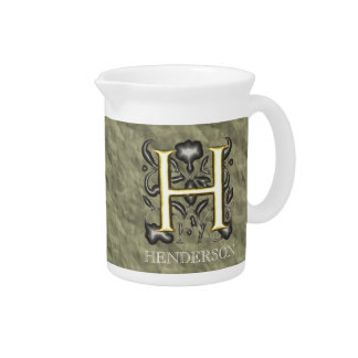 H - Embossed Vintage Monogram (Gold) Beverage Pitcher